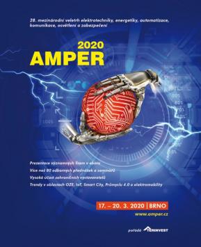 Dovolujeme si Vás pozvat na nadcházející ročník veletrhu AMPER 2020, který se uskuteční opět na brněnském Výstavišti od 17. do 20. března 2020.