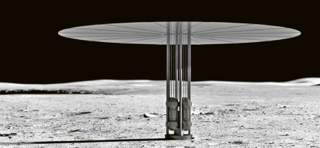 """Ilustrace reaktoru Kilopower v pracovní poloze v prostředí podobném Měsíci. """"Deštník"""" je radiátor, který slouží k vyzařování zbytkového tepla do prostředí"""