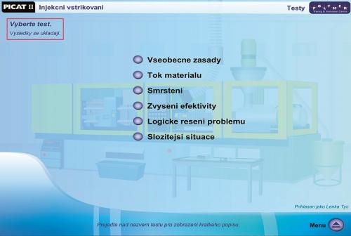 Obr. 5: Dostupné testy – postup a výsledky se ukládají pro následnou konzultaci