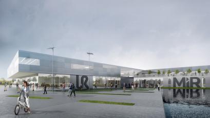 Toto je vize nového cobot Hubu v Odense. Konečný architektonický návrh nebyl doposud určen.