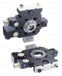 Rychlovýměnný modul SCHUNK SWS-046 je vhodný pro zatížení až 50 kg a nabízí bezpočet možností pro přívod energií a signálů do různých koncových efektorů. /Foto: SCHUNK/