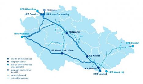 Mapa přepravní soustavy NET4GAS /Zdroj: NET4GAS/