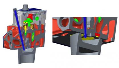 Umístění chlazeného endoskopu pro vizuální záznam průběhu spalování pomocí zařízení AVL visioscope
