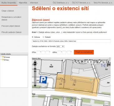 Geoportál - ukázka zaměření sídla ČEZ Distribuce v Děčíně