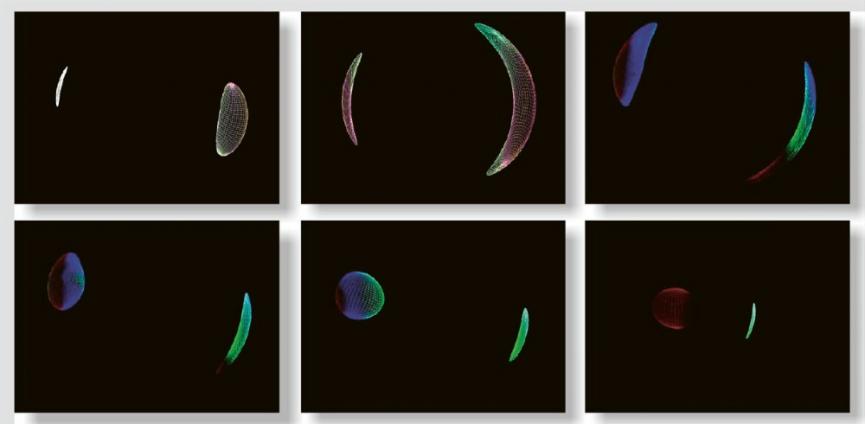 Vizualizace pohledu na planetu na nízké oběžné dráze černé díry v různých fázích pohybu po orbitě. Simulace ukazují, jak by se podoba planety zdeformovala v silném gravitačním poli černé díry, tak i to, kterým směrem by se posunovaly barvy (k modré či naopak červené) v té či oné pozici. Posun záleží na tom, jak se zkracuje, či prodlužuje délka záření vzhledem k pozorovateli /Kredit: P. Bakala et al/