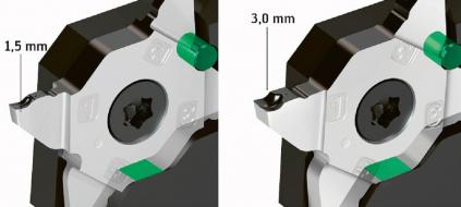 Stabilní široké kontaktní plochy držáku nástrojů bez ohledu na šířku břitu zaručují nízké náklady
