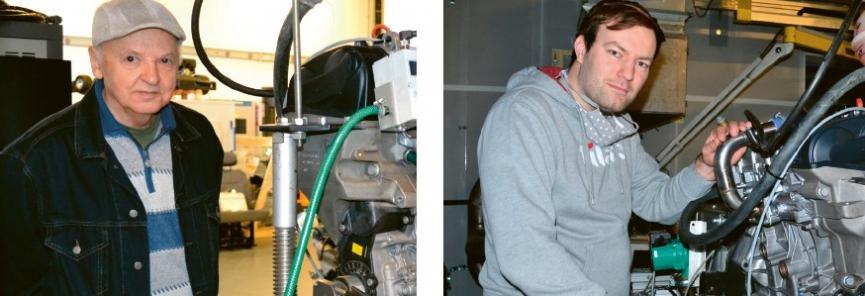 Profesor Stanislav Beroun (vlevo) a doktorand Radek Procházka u testovacího zařízení ve fakultní laboratoři