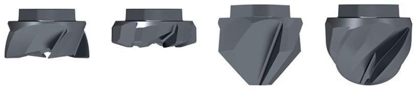 Zleva: Toroidní fréza, fréza s velkým posuvem, rádiusová fréza, odhrotovač; produktová paleta pro širokou oblast použití
