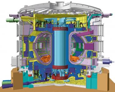 Řez návrhem tokamaku ITER s komorou pro plazma charakteristického toroidálního tvaru