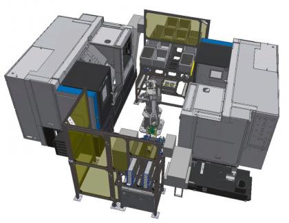 Obr. 5: Robotizované pracoviště 2× Hyundai WIA + Fanuc M10-i