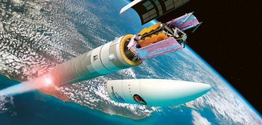 Znázornění vypuštění vesmírného teleskopu Jamese Webba složeného tak, aby se vešel do přepravního prostoru rakety Ariane 5