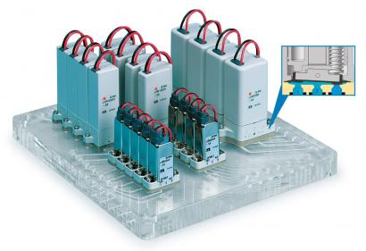 Přímo ovládané elektromagnetické ventily na rozvodné desce, ve výřezu funkce kolébkového sedla