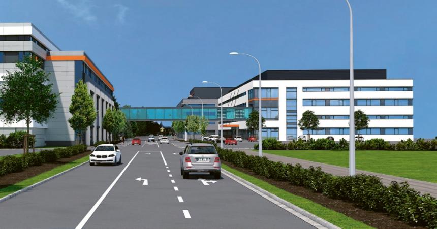 Nová budova zvýší velikost výrobních prostor o dalších 20 000 m2 od roku 2023 – na obrázku vpravo