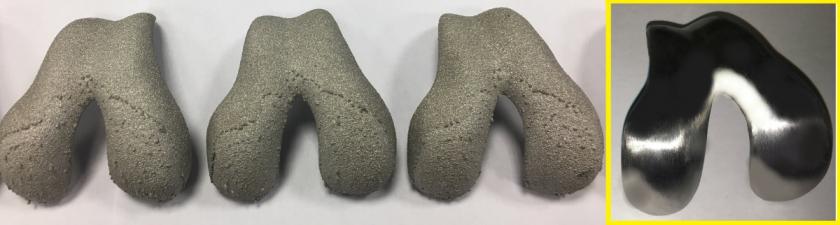 První prototypová série implantátů – polotovary a obroušený kus /Foto: archiv ÚST FSI/
