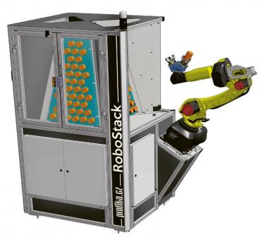 Obr. 3: Robotická buňka RoboStack v detailu