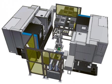 Obr. 4: Robotické pracoviště: 2× Hyundai Wia L230A + Fanuc M-10i + oplach + sušení