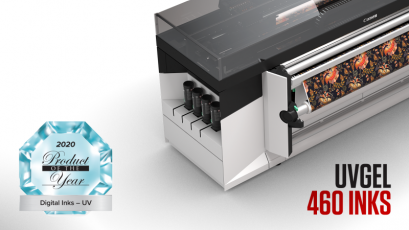 """Inkousty Canon UVgel 460 zvítězily v soutěži """"Produkt roku"""" PRINTING United Alliance v kategorii """"Digitální inkousty – UV"""""""