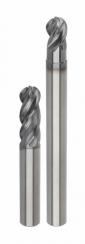 Kulová stopková fréze HARVI I TE je k dispozici ve dvou různých délkách: normální (v palcových rozměrech bez odsazení, v metrických s odsazením) a dlouhé.
