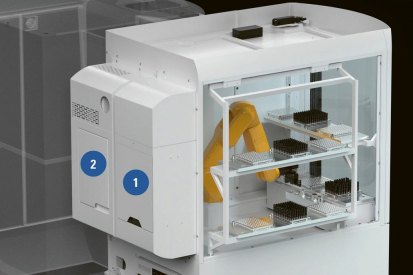 Obr. 6: Robotický modul Walter Maschinenbau pro čištění (1) a laserové značení (2)