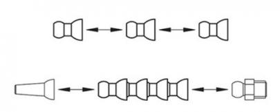 Modulární struktura umožňuje variabilitu v montáži, umožňující připnout na libovolné množství kloubových trubek trysku FHN, nebo závitové pouzdro FHJ