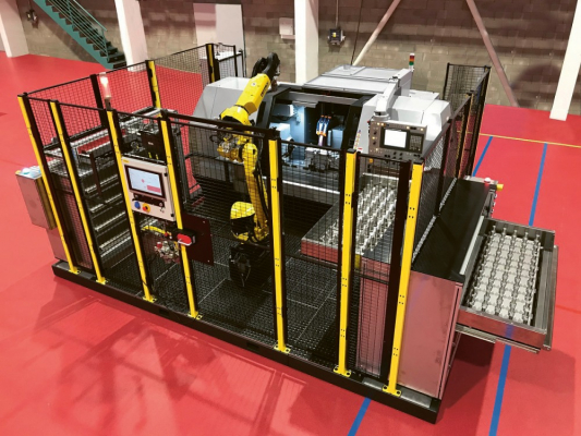 Obr. 2: Robotizované pracoviště pro rotační obrobky