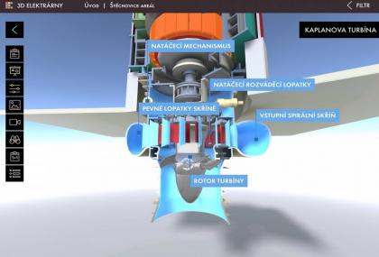 3D model - soustrojí vodní elektrárny s turbínou