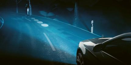 Světlomety Digital Light dokážou doslova kreslit na vozovku, zde ve spojení s nočním viděním upozorňují na chodce