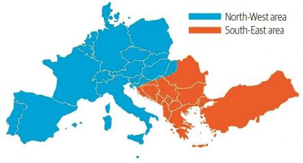 Mapa synchronní zóny kontinentální Evropy zobrazující dvě oddělené oblasti během události 8. ledna 2021 /Zdroj: ENTSO-E/