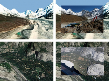 Mobil si díky určení polohy GPS zobrazí syntetický pohled na krajinu