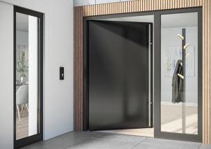 Dveřní systém Schüco AD UP (Aluminium Door Universal Platform) s bezbariérovým zapuštěným prahem zajišťuje snadný přístup