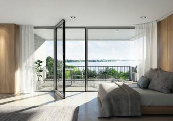 Bezbariérové balkonové a terasové dveře Schüco AWS (Aluminium Window System) jsou vybaveny zapuštěným prahem, který umožňuje přechod mezi vnitřním a venkovním prostorem bez rizika zakopnutí.