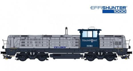 Barevné řešení lokomotivy EffiShunter 1000 společnosti Trainpoint Norway