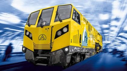 Audiovizuální představení prvního vodíkového vysokorychlostního broucícího a frézovacího vlaku Linsinger MG11-H2 v tunelech metra. (foto Linsinger AG.)