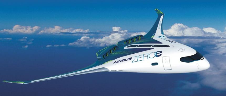Airbus ZEROe koncept se smíšenými křídly a s hybridními turboventilátorovými motory a zásobníky na kapalný vodík pod křídly