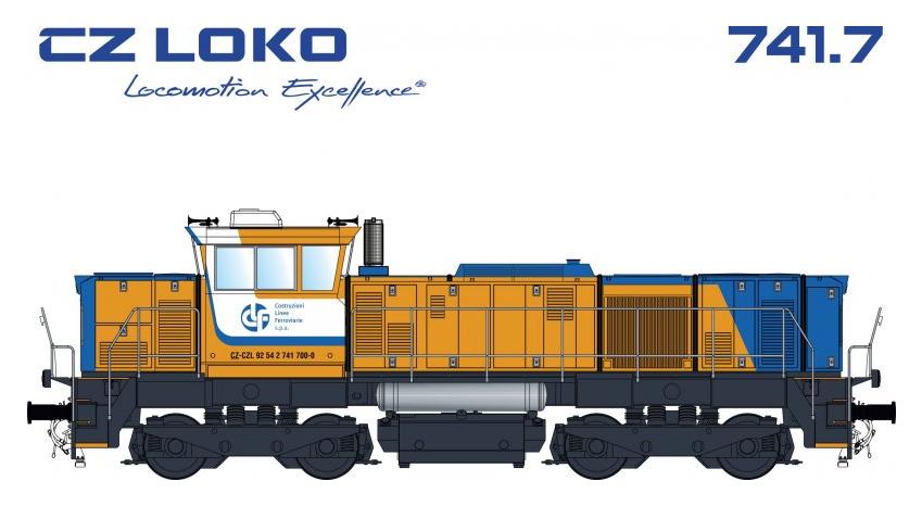 Barevné řešení lokomotivy 741.7 společnosti Costruzioni Linee Ferroviarie