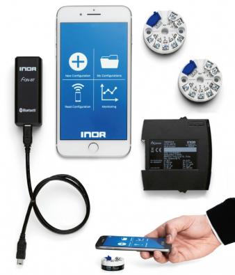 Obr. 1: Převodníky INOR s konfigurací pomocí NFC