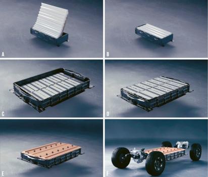 Ukázka ukládání článků Ultium do bateriového celku pro elektromobilovou platformu společnosti GM