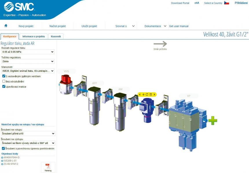 Konfigurace modulární jednotky úpravy stlačeného vzduchu AC -D v online konfigurátoru na www.smc.cz