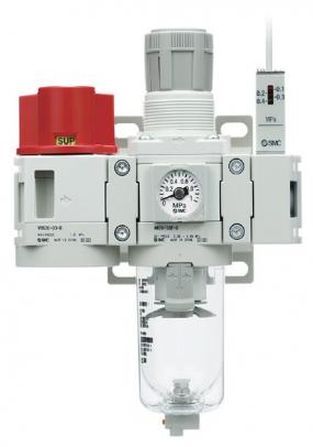 Řada AC -D: ruční 3/2 ventil VHS-D, filtr/regulátor AW-D, mechanický snímač tlaku IS-D