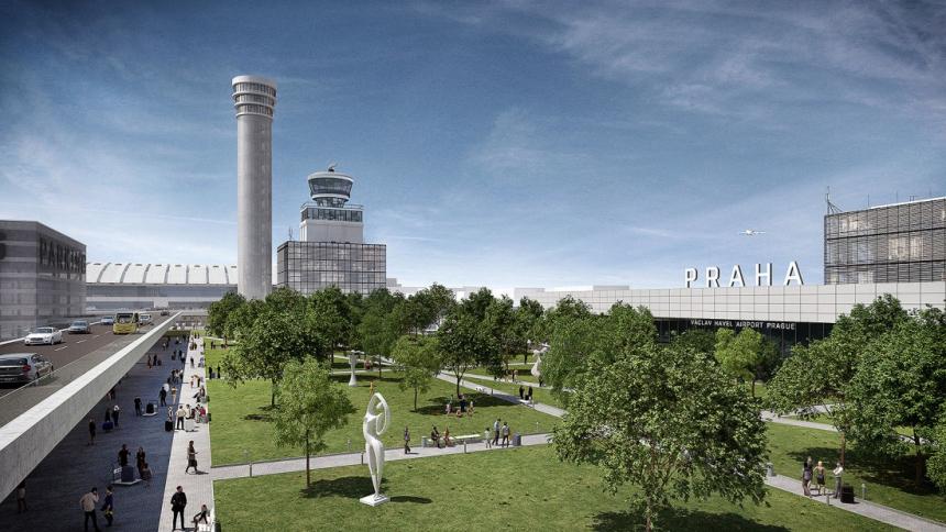 Vizualizace výhledového stavu veřejného prostoru před Terminál 1 dle koncepce Airport City Letiště Václava Havla Praha