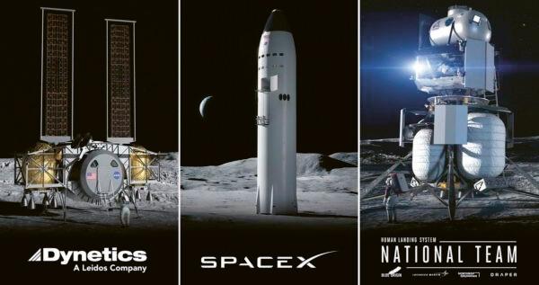Trojice konkurenčních lunárních landerů