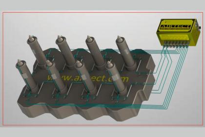 Obr. 6: Okruhová kontrolní jednotka s ještě vyšší rychlostí detekce úniku materiálu