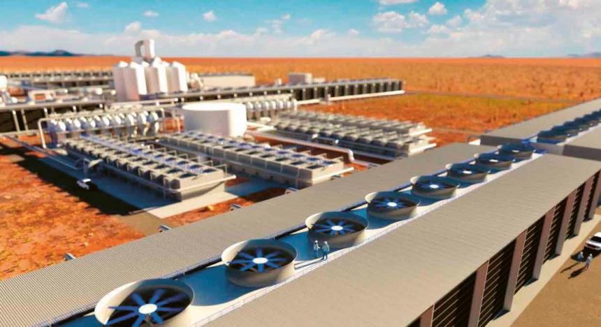 Takto by mohl vypadat závod společnosti Carbon Enginnering na odstraňování CO2 z ovzduší v Texasu /Vizualizace: Carbon Engineering/