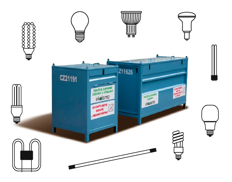 Všechny typy vysloužilých světelných zdrojů patří do speciální sběrné nádoby.