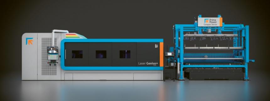 Laser Genius+ s automatizačním řešením Compact Server pro krátkodobou bezobslužnou výrobu