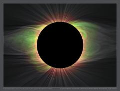 Zatmění 2019 v Chile. Je zvýrazněno červeně záření iontu Fe XI