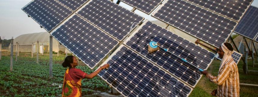Solární panely v Bangladéši /Foto: IWMI/