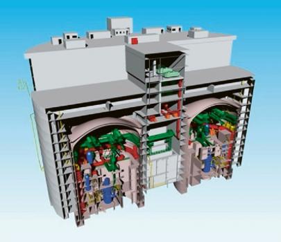 Ukázka malé elektrárny se dvěma reaktory ACP100 /Foto: CNNC/