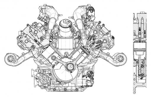 Typickými znaky nového motoru jsou úhel rozevření válců 90° a mazání se suchou klikovou skříní