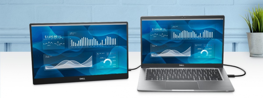 Dell C1422H lifestyle laptop with monitor